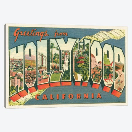 Greetings from Hollywood v2 3-Piece Canvas #WAC9570} by Wild Apple Portfolio Canvas Art