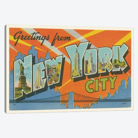 Greetings from New York 3-Piece Canvas #WAC9571} by Wild Apple Portfolio Canvas Artwork