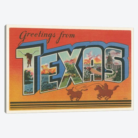 Greetings from Texas v2 Canvas Print #WAC9572} by Wild Apple Portfolio Canvas Artwork