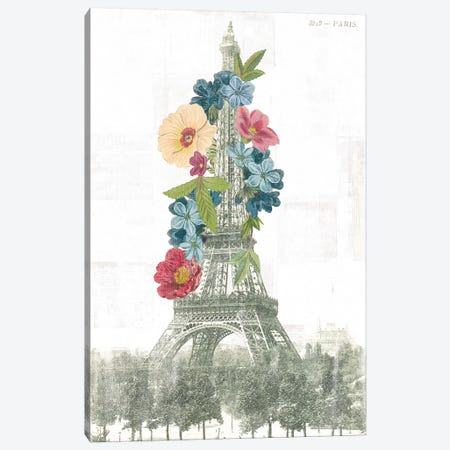 Floral Eiffel Tower Canvas Print #WAC9577} by Wild Apple Portfolio Canvas Art Print