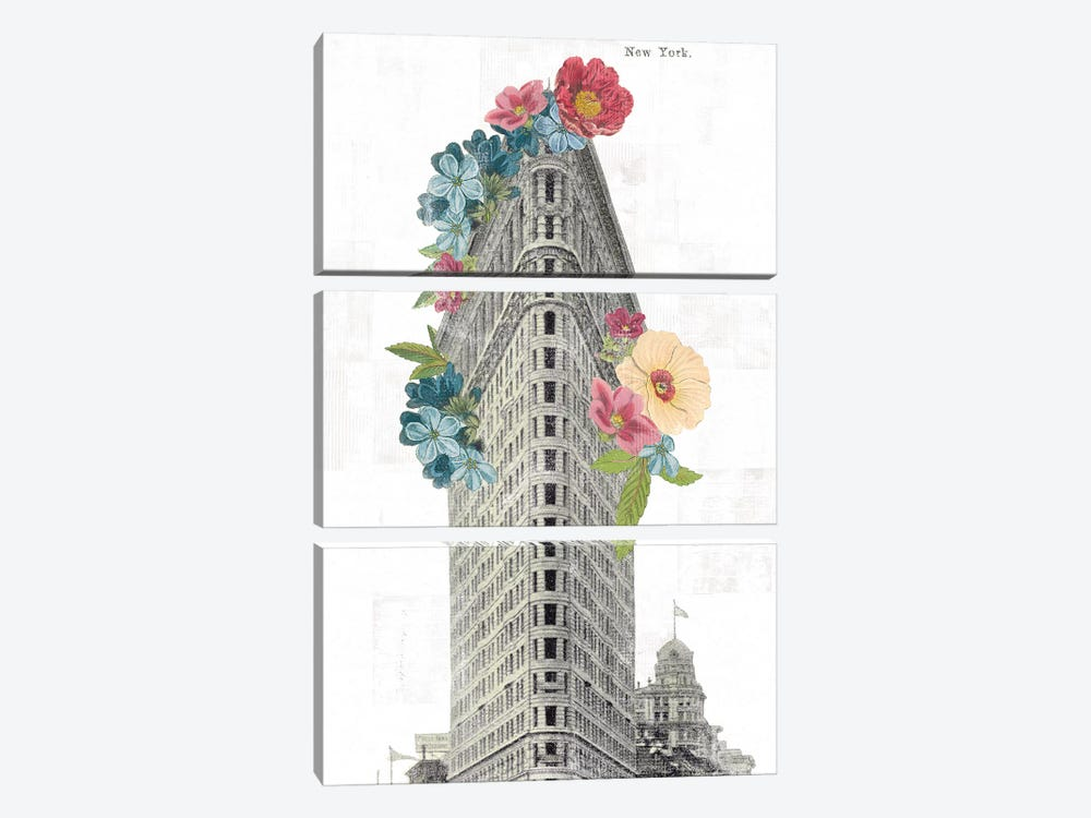 Floral Flat Iron by Wild Apple Portfolio 3-piece Canvas Artwork