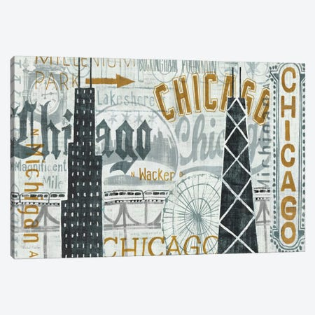 Hey Chicago Vintage Canvas Print #WAC957} by Michael Mullan Canvas Art Print
