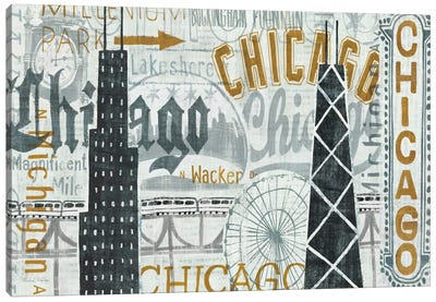 Hey Chicago Vintage Canvas Art Print