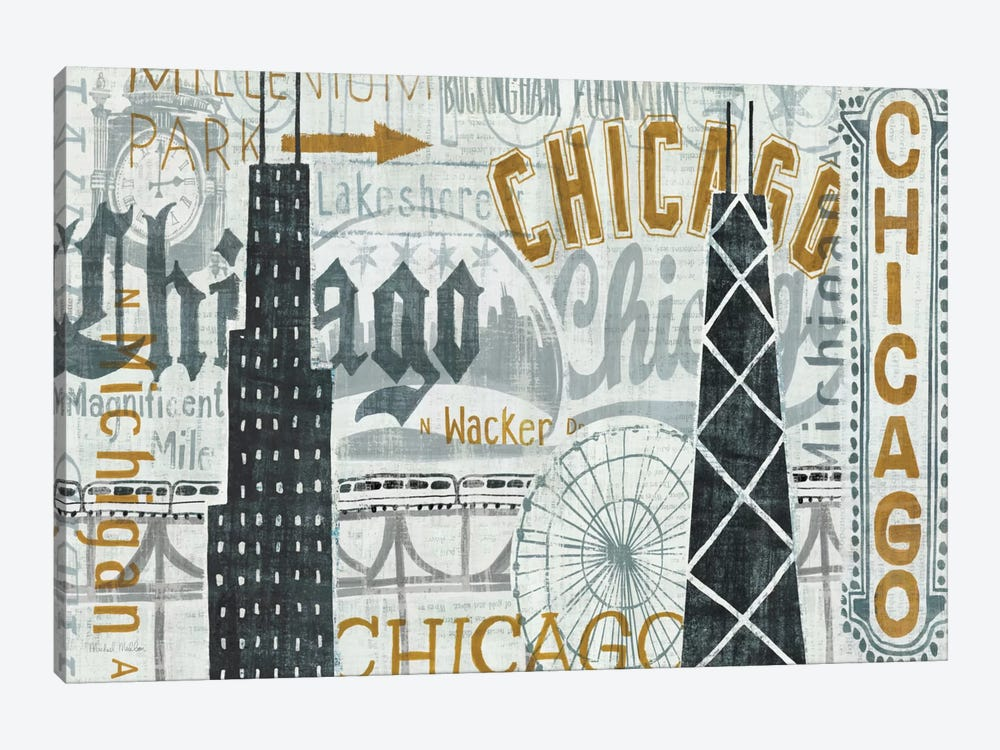 Hey Chicago Vintage by Michael Mullan 1-piece Canvas Artwork