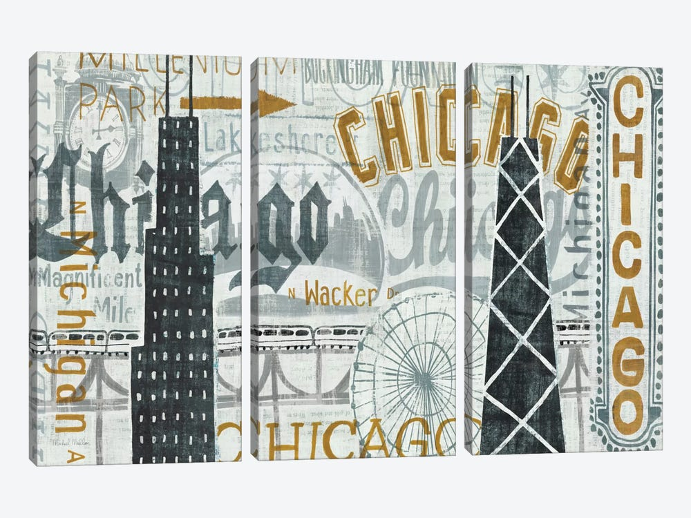 Hey Chicago Vintage 3-piece Canvas Wall Art