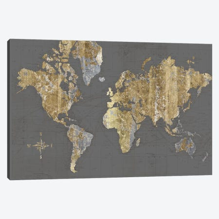 Gilded Map Gray - No Border Canvas Print #WAC9609} by Wild Apple Portfolio Canvas Artwork