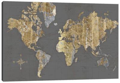 Gilded Map Gray - No Border Canvas Art Print