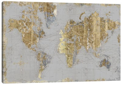 Gilded Map Light Gray Canvas Art Print