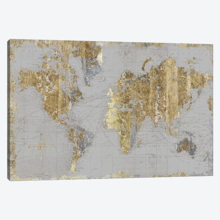 Gilded Map Light Gray Canvas Print #WAC9615} by Wild Apple Portfolio Canvas Art