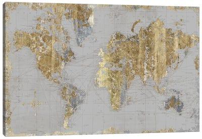Gilded Map Light Gray Canvas Art Print