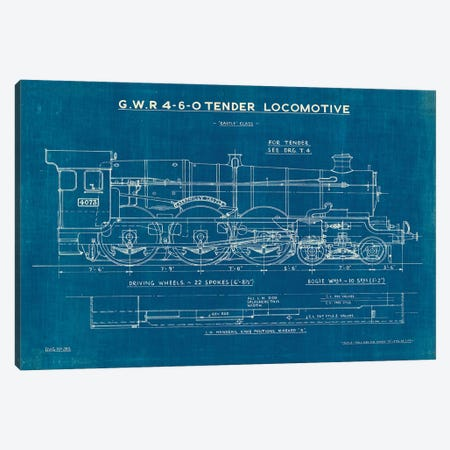 Locomotive Blueprint I Canvas Print #WAC9616} by Wild Apple Portfolio Canvas Wall Art