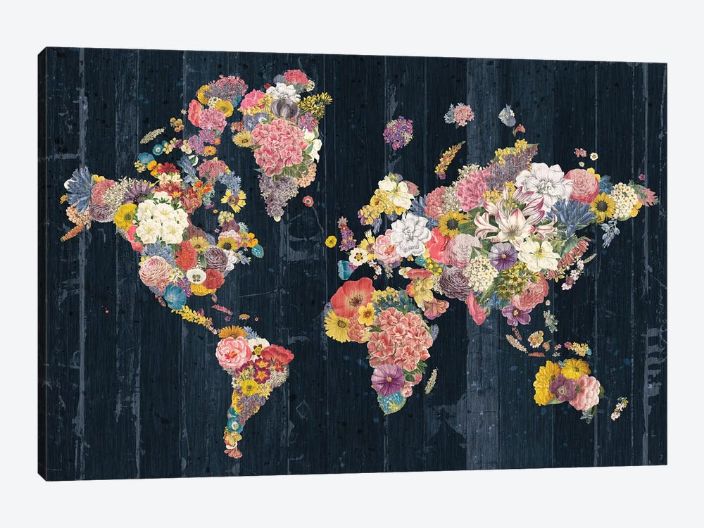 Botanical Floral Map by Wild Apple Portfolio 1-piece Canvas Art Print