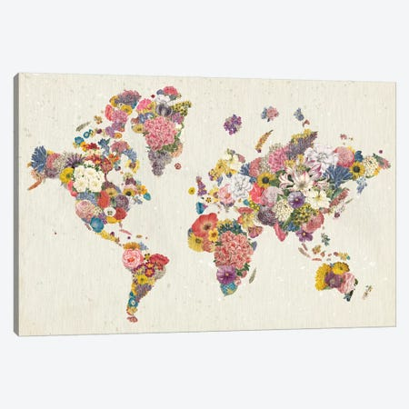Botanical Floral Map Light Canvas Print #WAC9634} by Wild Apple Portfolio Canvas Art