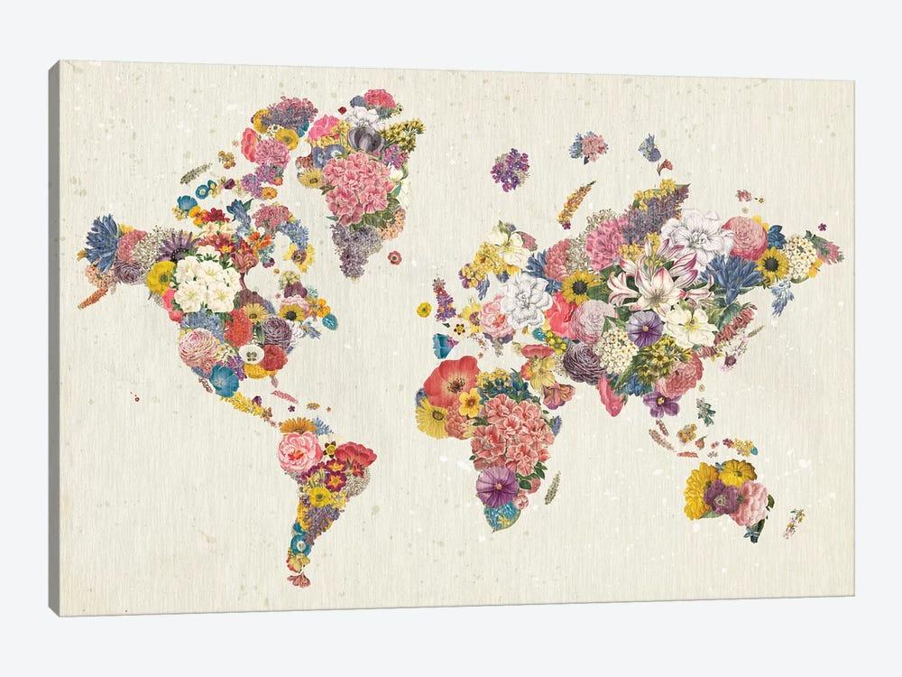 Botanical Floral Map Light by Wild Apple Portfolio 1-piece Canvas Art