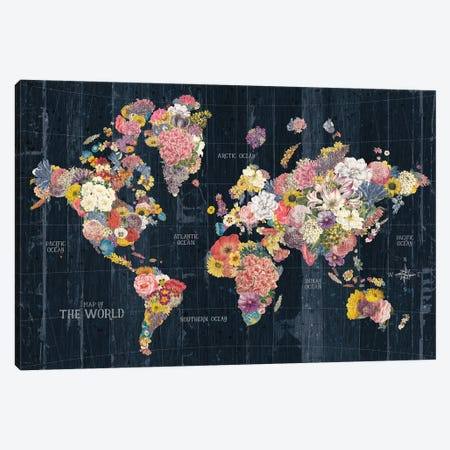 Botanical Floral Map Words Canvas Print #WAC9635} by Wild Apple Portfolio Canvas Wall Art