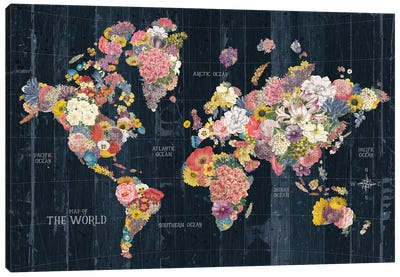 Botanical Floral Map Words Canvas Art Print