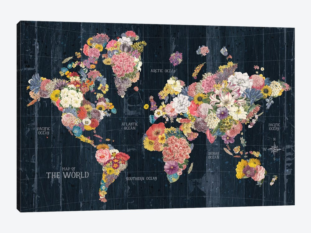 Botanical Floral Map Words by Wild Apple Portfolio 1-piece Canvas Art Print