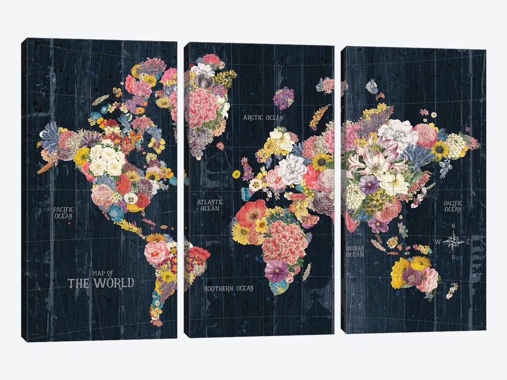 Botanical Floral Map Words by Wild Apple Portfolio 3-piece Canvas Art Print