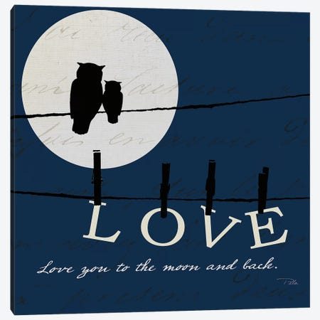Moon Love I Indigo Canvas Print #WAC9657} by Pela Canvas Artwork