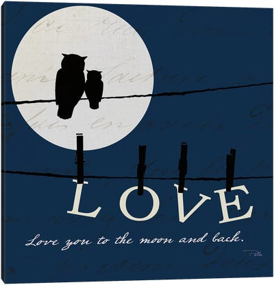 Moon Love I Indigo Canvas Art Print