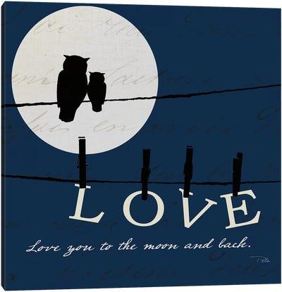 Moon Love I Indigo Canvas Art Print