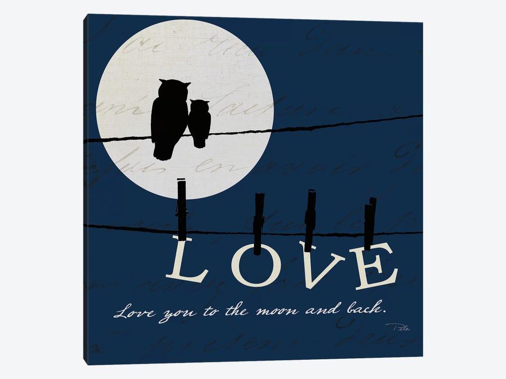 Moon Love I Indigo by Pela 1-piece Canvas Art Print