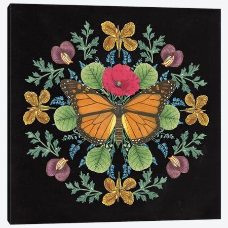 Butterfly Mandala I Black Canvas Print #WAC9659} by Wild Apple Portfolio Canvas Print