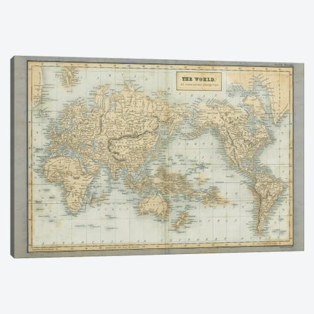 The World Map Neutral Canvas Print #WAC9674} by Wild Apple Portfolio Canvas Artwork