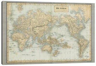 The World Map Neutral Canvas Art Print