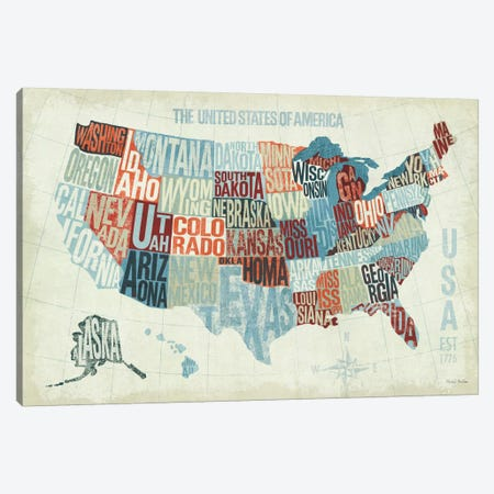 USA Modern Blue  Canvas Print #WAC971} by Michael Mullan Canvas Artwork