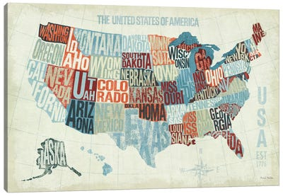 USA Modern Blue  Canvas Art Print