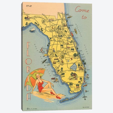 Florida Postcard VI Canvas Print #WAC9721} by Wild Apple Portfolio Canvas Art Print