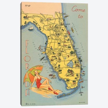 Florida Postcard VI Canvas Print #WAC9721} by Wild Apple Portfolio Canvas Art Print