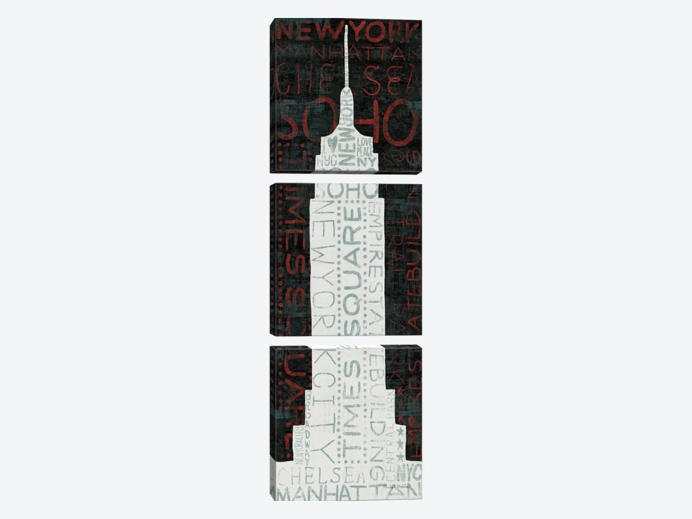 Empire State Building - Red by Michael Mullan 3-piece Canvas Print