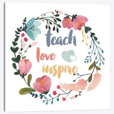 Harriet Floral Teacher Inspiration I Canvas Print #WAC9732} by Wild Apple Portfolio Canvas Artwork