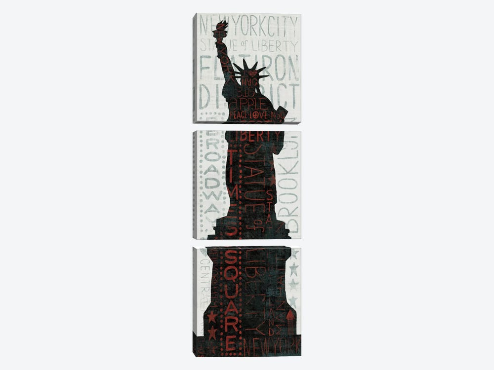 Statue of Liberty - Red by Michael Mullan 3-piece Canvas Wall Art