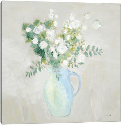 A Pitcher of Garden Flowers Light Sq Canvas Art Print
