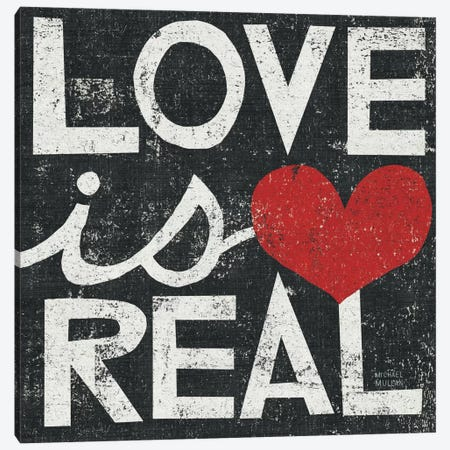 Love Is Real Grunge Square   3-Piece Canvas #WAC976} by Michael Mullan Canvas Print