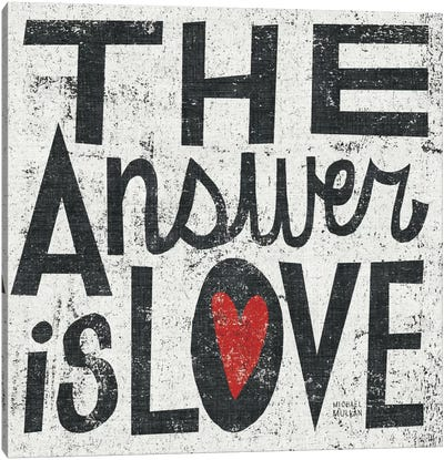 The Answer is Love Grunge Square Canvas Art Print