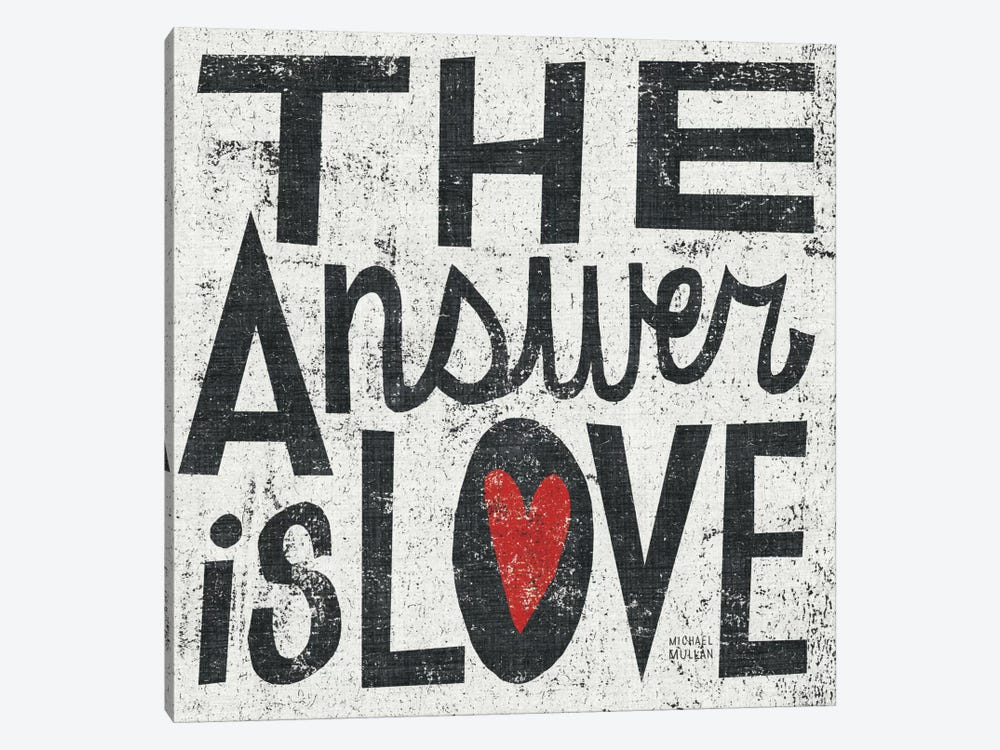 The Answer is Love Grunge Square  1-piece Canvas Artwork