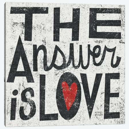 The Answer is Love Grunge Square  3-Piece Canvas #WAC977} by Michael Mullan Canvas Print