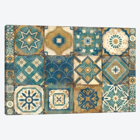 Moroccan Tiles Blue Canvas Print #WAC9788} by Cleonique Hilsaca Art Print