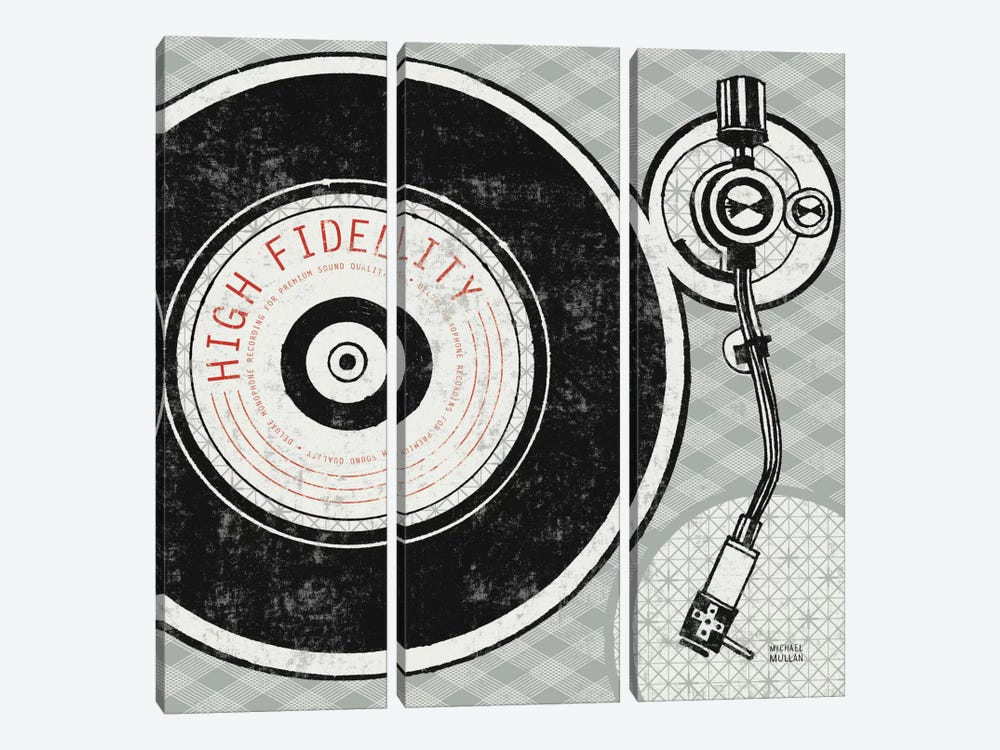 Vintage Analog Record Player by Michael Mullan 3-piece Canvas Art Print