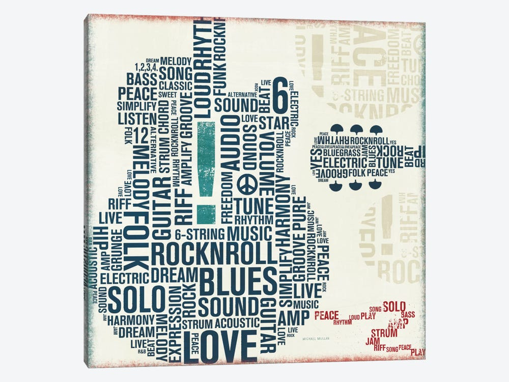 Type Guitar Square II  by Michael Mullan 1-piece Canvas Artwork