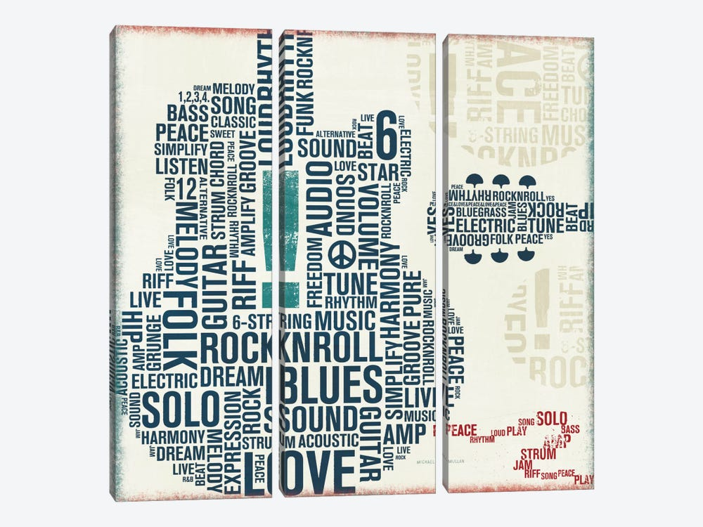 Type Guitar Square II by Michael Mullan 3-piece Canvas Artwork
