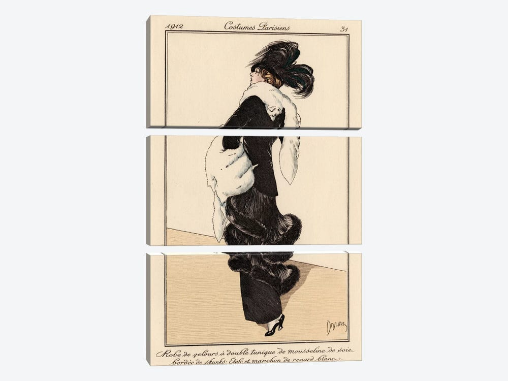 Vintage French Fashion I by World Art Group Portfolio 3-piece Canvas Wall Art