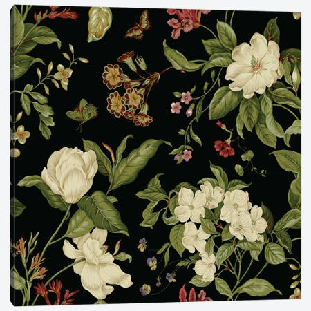Garden Floral On Black I Canvas Print #WAG151} by Unknown Artist Art Print