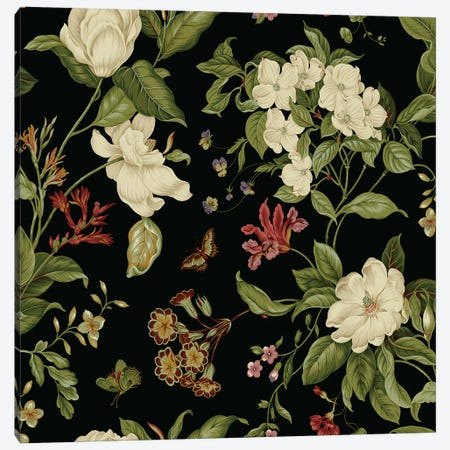 Garden Floral On Black II Canvas Print #WAG152} by Unknown Artist Canvas Art Print