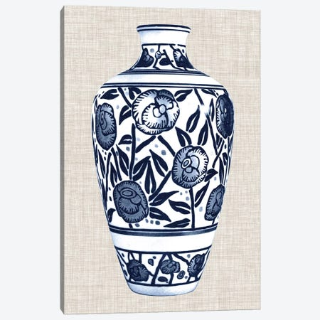 Blue & White Vase IV Canvas Print #WAG21} by World Art Group Portfolio Canvas Art Print