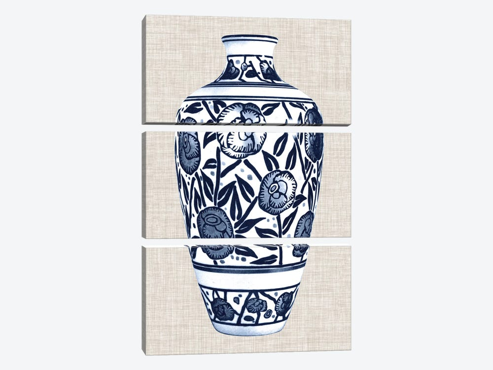 Blue & White Vase IV by World Art Group Portfolio 3-piece Canvas Artwork